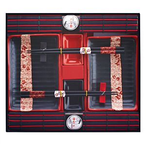 Набор для суши для двоих черно-красный