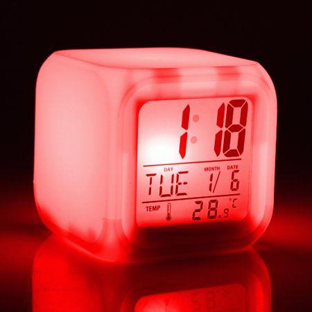 """Часы-будильник """"Светящийся Куб"""" с погодной станцией"""