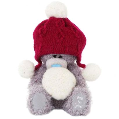 Мишка teddy Me to You 18 см в красной шапке с помпончиками G01W3303