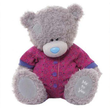 Мишка Teddy Me to You 40 см - в малиновой комбинизоне G01W3275