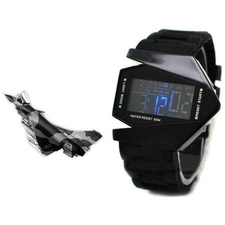 """Led Watch - часы Skmei """"Истребитель"""" наручные черные"""