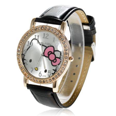 """Часы """"Хелло Китти"""" со стразами наручные (цвета в ассорт.)"""