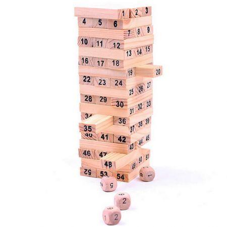 Настольная игра Башня 54 блока с цифрами
