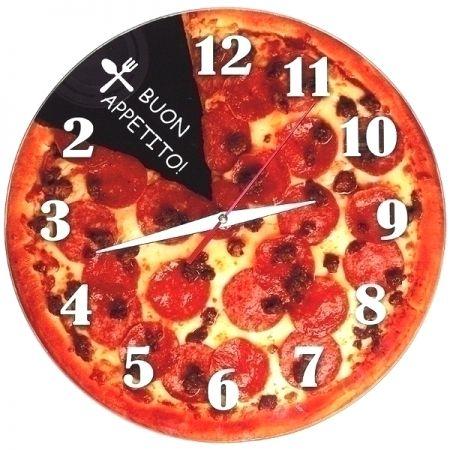 """Часы с обратным ходом настенные """"Пицца"""" стеклянные"""