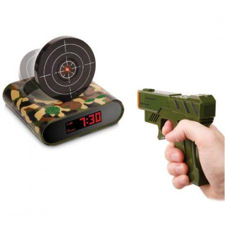 """Будильник пистолет с мишенью """"Меткий стрелок"""" милитари"""