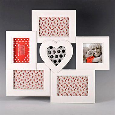 Панно для фотографий Сердце 6 фоторамок