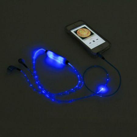 Наушники со светящимся кабелем и микрофоном Human Friends Lumen Blue