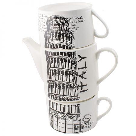 Чайник с двумя кружками Италия ,фарфор
